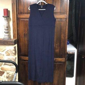Eileen Fisher navy blue sleeveless wool maxi dress